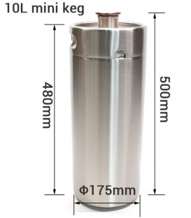 Mini keg 10 L stainless steel